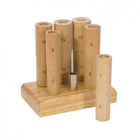 6 Piece Wooden Ring Mandrel in Base w/ Stand - Whole Sizes 4-15