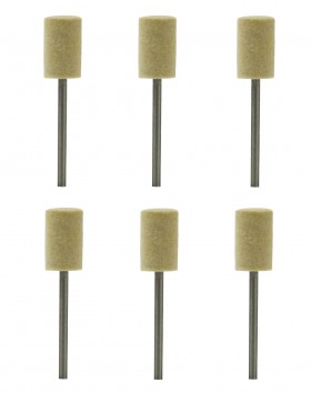 "Set of Six Cylinder-Shaped Mounted Felt Buffs on Mandrels w/ 3/32"" Shanks"