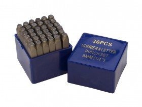 """36 Piece Punch Letter and Number Stamp Set - 1/4"""""""