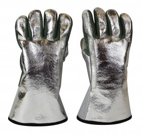 "Aluminized Carbon Heat Resistant Kevlar 13"" / 18 oz Melting Furnace Gloves"