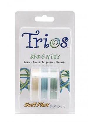 "Soft Flex Trio - Serenity: Bone, Green Turquoise, and Flourite 0.19"""
