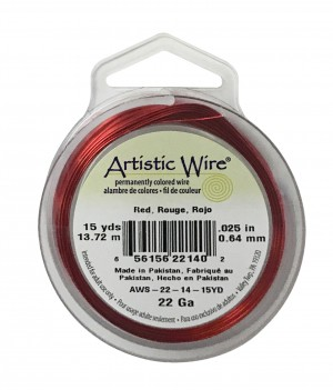 22 Gauge Red Artistic Wire Spool - 15 Yards