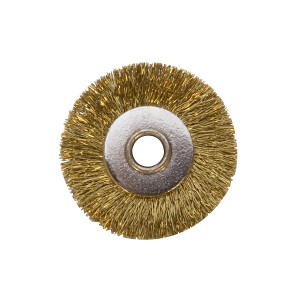 "1"" UNMOUNTED BRUSH, BRASS CRIMPED, 1/8"" HOLE"