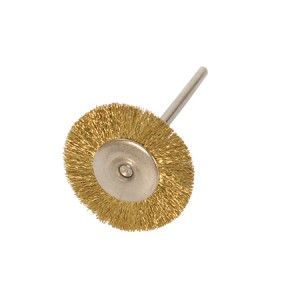 "3/4"" MOUNTED BRUSH, BRASS CRIMPED, 3/32"" MANDREL"