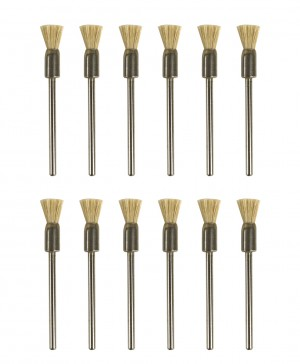 "Set of 12 White Bristle Mounted End Brushes w/ 3/32"" Shank"