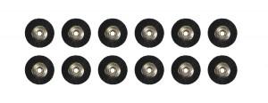 "Set of 12 Unmounted Black Bristle Brushes w/ 3/32"" Shank, 3/4"" Wheel"