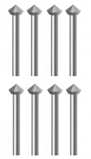 8 Piece 45 Degree Hard Bur Set - 3.30 to 5.00 MM (Larger Sizes)