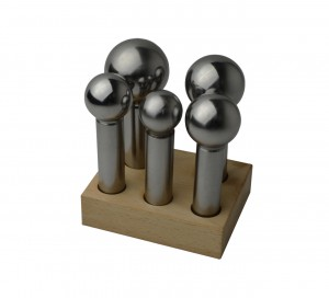 5 Piece Large Dapping Punch Set w/ Wooden Stand - 28 mm to 45 mm