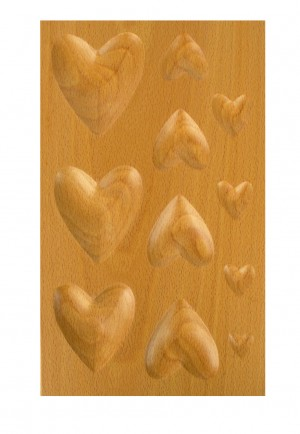 11 Cavity Heart-Shaped Hardwood Dapping Block