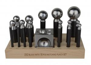 18 Piece Steel Dapping Punch Set w/ Dapping Block & Wooden Base