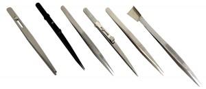 6 Piece Stainless Steel Diamond Beading Gemstone Tweezer Set