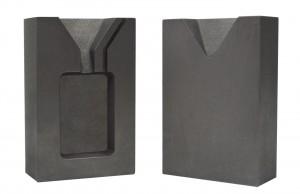2 Troy Ounce Gold Rectangular Two Part Split Graphite Ingot Mold w/ Clamp