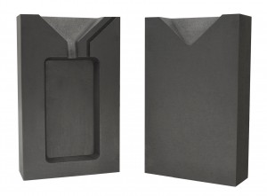 5 Troy Ounce Gold Rectangular Two Part Graphite Ingot Mold w/ Clamp