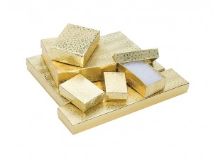 """100 Gold Gift Boxes - 3-1/2"""" x 3-1/2"""" x 1"""" (#4)"""