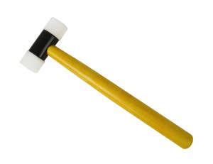 "Nylon Hammer w/ 1-1/4"" Faces and Wooden Handle"