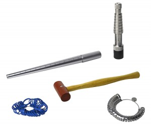 "Ring Sizing Kit w/ Rathburn Ring Stretcher Mandrel Measuring Stick and 1"" Rawhide Hammer"