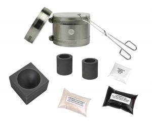 "Deluxe Mini Kwik Kiln Propane Furnace Kit w/ 2"" x 1-1/2"" Single Cavity Graphite Conical Mold"