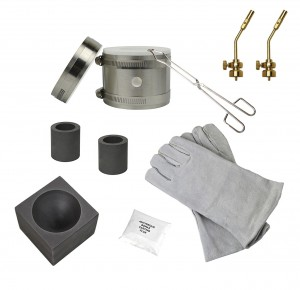 "Deluxe Mini Kwik Kiln Propane Furnace Kit w/ 2"" x 1-1/2"" Single Cavity Graphite Conical Mold, Heat Resistant Gloves and Brass Torch Tips"