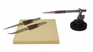 "Soldering Kit w/ Fiber Grip Tweezers Helping Third Hand Base and 6"" x 6"" Heat-Resistant Board"