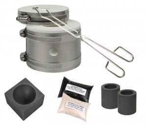 Mini Kwik Kiln Kit w/ Tongs Chapman Flux, Flux Thinner, Conical Mold & 2 Graphite Crucibles