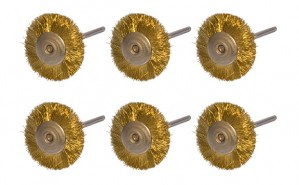 "Set of 6 Mounted Brass Wire Wheel Brushes w/ 3/32"" Mandrel"