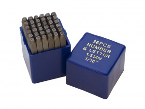 36 Piece Punch Letter and Number Stamp Set - 1/16""