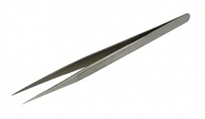 "6-1/2"" Fine-Tipped Straight Diamond Melee Tweezers"