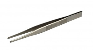 "5"" Stainless Steel Blunt Forcer Tweezers w/ Serrated Tips"