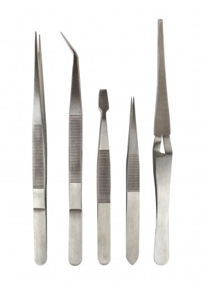 5-Piece Stainless Steel All-Purpose Tweezer Set