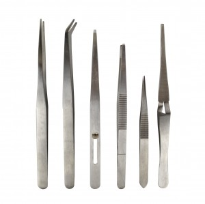 6 Piece Stainless Steel All Purpose Tweezer Set