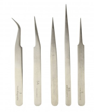 5 Piece Stainless Steel Anti-Magnetic All Purpose Tweezer Set